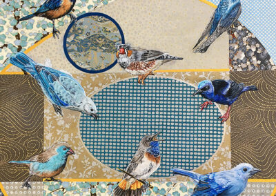 birds, painting, japan, mixed-media, oil, square-format, art-for-sale, blues