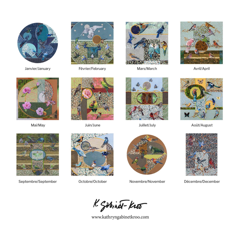 12 month bird wall calendar