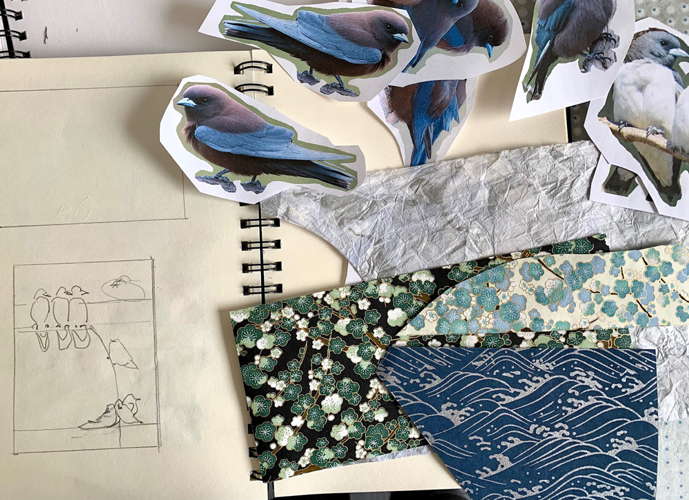sketches, birds, papers, drawing